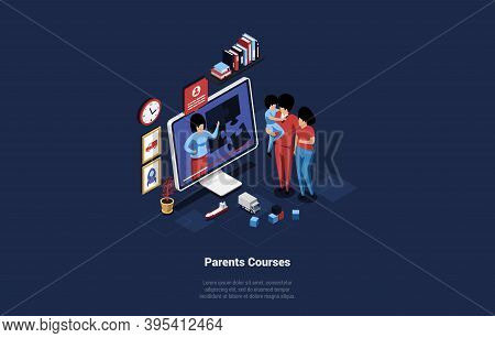 3d Illustration In Cartoon Style On Parents Online Courses Concept. Isometric Vector Composition Of
