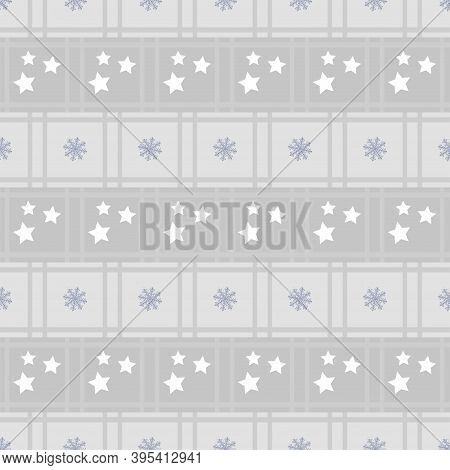 New Years Winter Geometric Pattern With Squares, Stars And White Snowflakes In Gray And Lilac Shades