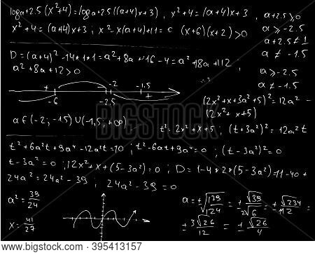 Mathematical Formulas And Symbols Written By Hand On A Black Background. Algebraic Doodles. Vector I