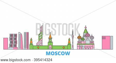 Russia, Moscow City Line Cityscape, Flat Vector. Travel City Landmark, Oultine Illustration, Line Wo