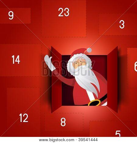 Santa Advent Calendar - Festive Christmas vector.