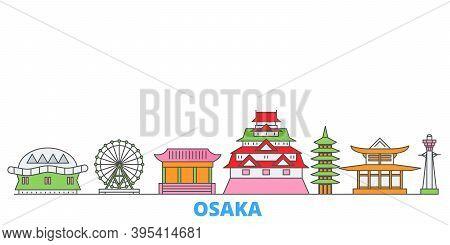 Japan, Osaka Line Cityscape, Flat Vector. Travel City Landmark, Oultine Illustration, Line World Ico
