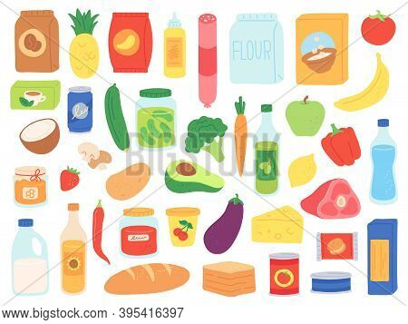 Food Groceries. Shop Products In Bags And Bottles. Supermarket Snack, Pasta And Tomato Can, Milk And