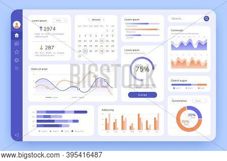 Dashboard. Ui Infographic, Data Graphic And Chart. Screen With Business Analytics. Admin Statistical