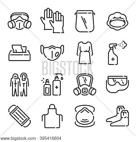 Ppe Line Icons. Medical Covid-19 Protection Equipments. Outline Doctor Gown, Face Mask And Shield, H