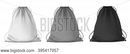 Sport Backpack Mockup. School Blank Drawstring Bags With Strings For Clothes And Shoes. Realistic 3d