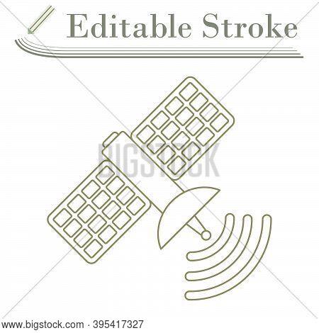 Satellite Icon. Editable Stroke Simple Design. Vector Illustration.