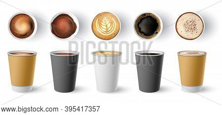 Coffee To Go Cup. Paper Cappuccino Cups Top And Side View. Hot Americano, Espresso And Latte In Card