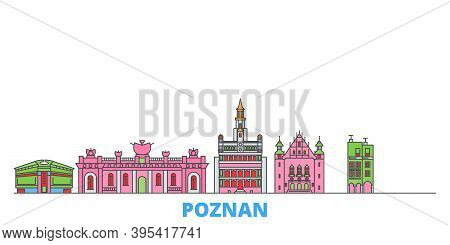 Poland, Poznan Line Cityscape, Flat Vector. Travel City Landmark, Oultine Illustration, Line World I
