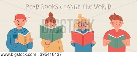 Kids Read Books And Learn. Happy Reading People, Girls And Boys With Book. Cartoon Banner For Librar
