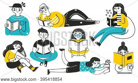 People Reading Books. Young Women And Men In Cozy Poses Enjoying Hobby. Hand Drawn Students Learning