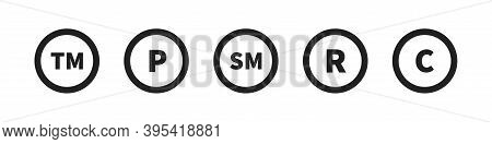 Copyright And Register Trademark Icon Set. Vector Symbol Collection.