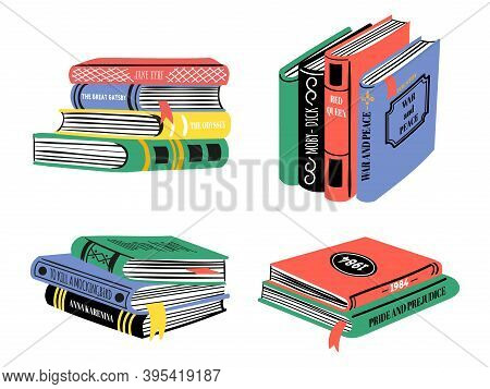 Pile Of Bestseller Books. Hand Drawn Classic Literature Stacks. Popular Book Design For Library Or B