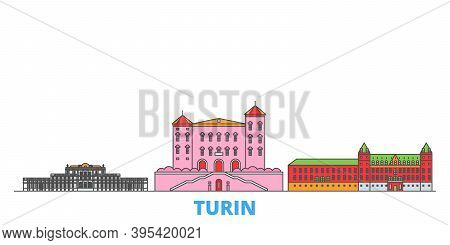 Italy, Turin, Residences Of The Royal House Of Savoy Line Cityscape, Flat Vector. Travel City Landma