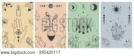 Mystical Boho Posters. Esoteric Line Prints With Astrology Symbols, Crystals, Potion, Evil Eye And O