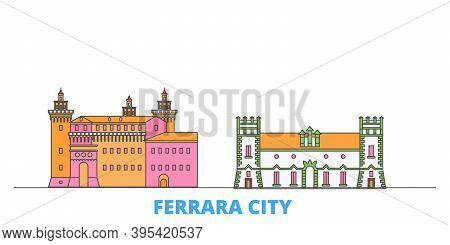 Italy, Ferrara City Line Cityscape, Flat Vector. Travel City Landmark, Oultine Illustration, Line Wo