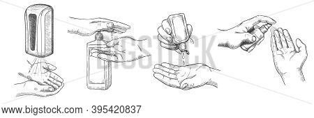 Sketch Hands Sanitizers. Person Clean Hand With Alcohol Gel, Wall Sanitizer, Spray And Antiseptic In