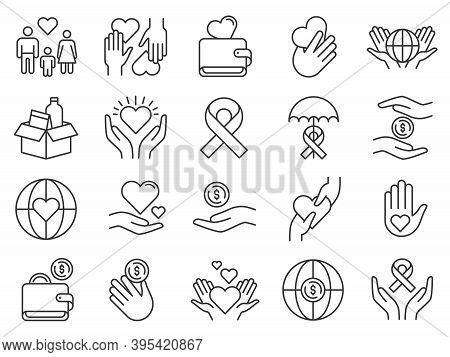 Charity And Donation Icon. Hands Donating Money And Hearts. Community Support Icons. Family Adopt, F