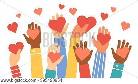 Hands Donate Hearts. Charity, Volunteer And Community Help Symbol With Hand Gives Heart. People Shar
