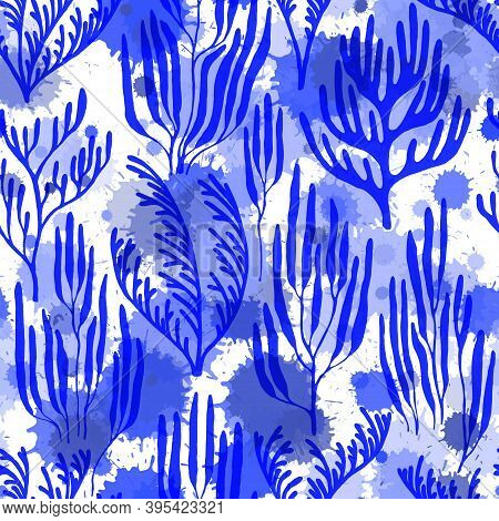 Coral Reef Seamless Pattern. Paint Splashes Drops Watercolor Background. Australian Staghorn And Pil