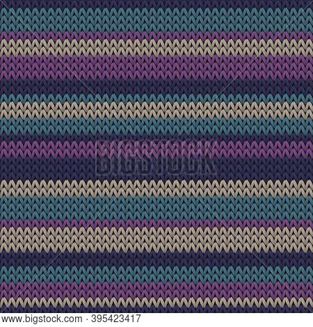Soft Horizontal Stripes Knitted Texture Geometric Vector Seamless. Scarf Knit Tricot  Fabric Print.