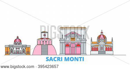 Italy, Piedmont And Lombardy, Sacri Monti Line Cityscape, Flat Vector. Travel City Landmark, Oultine