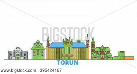 Poland, Torun Line Cityscape, Flat Vector. Travel City Landmark, Oultine Illustration, Line World Ic