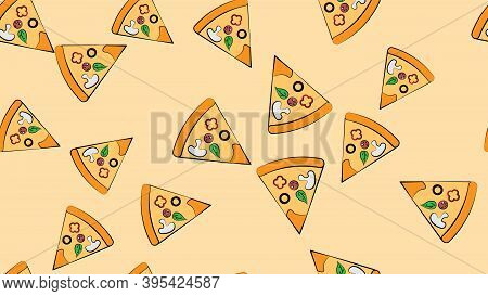 Slice Of Pizza On Thin Dough, On A Pink Background, Vector Illustration, Pattern. Pizza Stuffed With