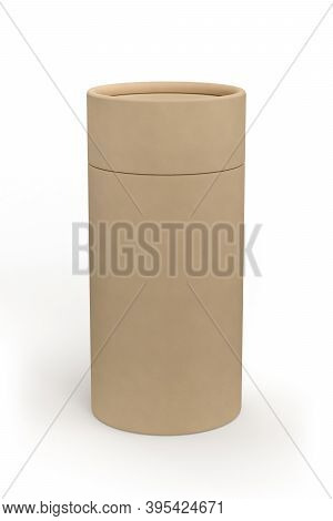 Kraft Paper Cardboard Tube Package Mockup Isolated On White Background - 3d Render