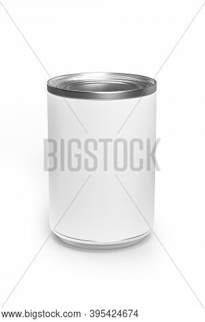 Food Can Box Mockup Isolated On White Background - 3d Render