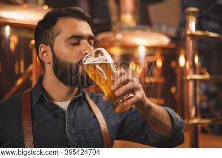 Bearded Male Brewer Sipping Delicious Ber From A Glass, Working At His Production Brewery. Professio
