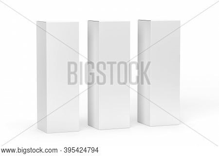 High Vertical Carton Mockup - Three Alcohol Packs Mockup - Isolated On White Background - 3d Render