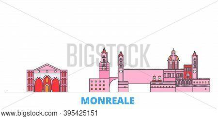 Italy, Monreale Line Cityscape, Flat Vector. Travel City Landmark, Oultine Illustration, Line World