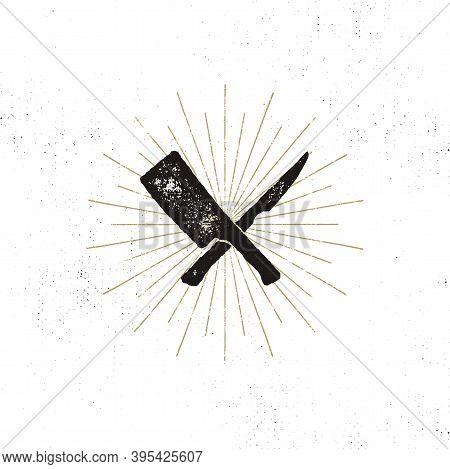 Meat Cleaver And Knife Symbols. Vintage Steak House Symbol. Letterpress Effect With Sunbursts. Vecto