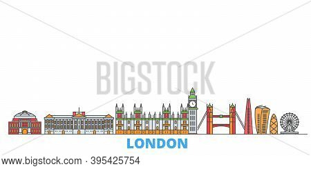 United Kingdom, London Line Cityscape, Flat Vector. Travel City Landmark, Oultine Illustration, Line