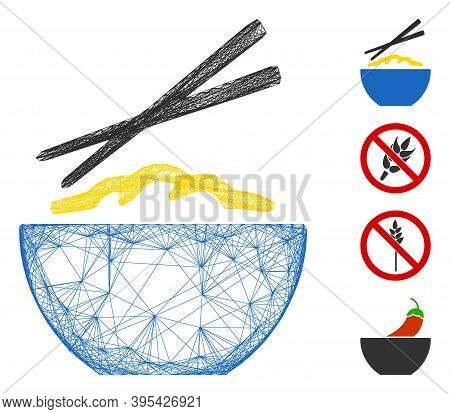 Vector Network Rice Porridge. Geometric Linear Frame Flat Network Generated With Rice Porridge Icon,