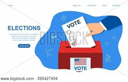 Voting Concept In Flat Style. Voting Election. Hand Putting Paper In The Ballot Box. Cartoon Vector
