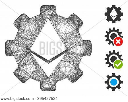 Vector Wire Frame Ethereum Cog Wheel. Geometric Wire Frame Flat Network Generated With Ethereum Cog