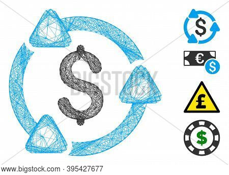 Vector Net Money Circulation. Geometric Hatched Carcass 2d Net Generated With Money Circulation Icon