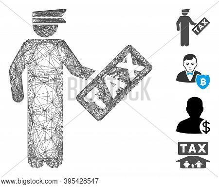 Vector Network Tax Officer. Geometric Linear Frame 2d Network Made From Tax Officer Icon, Designed F
