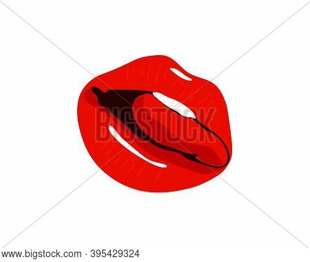 Collection Of Red Lips. Vector Illustration Of A Womans Sexy Lips Expressing Different Emotions Such