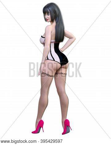Tall Sexy Woman White Corset.