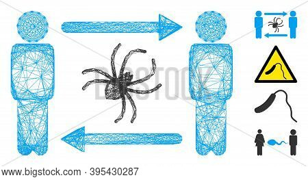 Vector Wire Frame Persons Exchange Parasite. Geometric Wire Frame Flat Net Made From Persons Exchang