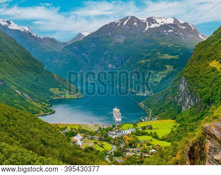 View of Geirangerfjord with Cruise ship, Norway, Europe. Mountains And Geirangerfjord Aerial View