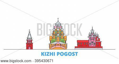 Russia, Kizhi Pogost Line Cityscape, Flat Vector. Travel City Landmark, Oultine Illustration, Line W