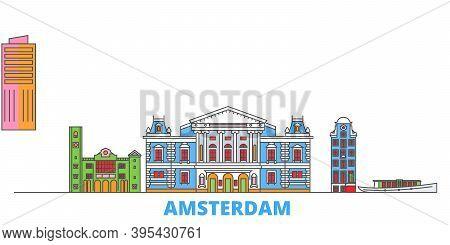 Netherlands, Amsterdam Line Cityscape, Flat Vector. Travel City Landmark, Oultine Illustration, Line