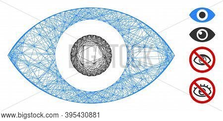 Vector Wire Frame Eye. Geometric Wire Frame 2d Net Made From Eye Icon, Designed With Crossing Lines.
