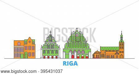 Latvia, Riga Line Cityscape, Flat Vector. Travel City Landmark, Oultine Illustration, Line World Ico