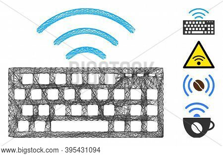 Vector Wire Frame Wireless Keyboard. Geometric Hatched Frame Flat Network Generated With Wireless Ke