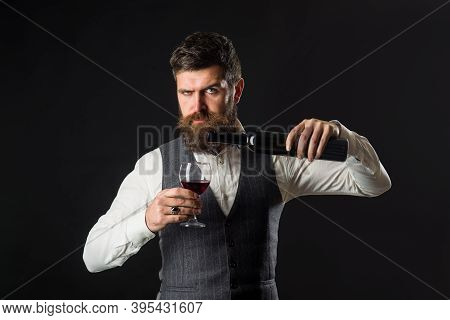 Wine Glass. Tasting Alcohol. Red Wine. Bearded Man With Glass Of Wine. Man Drinks Red Wine. Man With